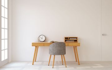 Wooden Desk & Grey Chair