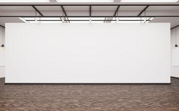 13' H x 28' W White Wall
