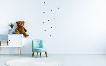 Brown Bear & Tiny Teal Chair