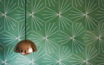Green Wall & Bronze Lamp